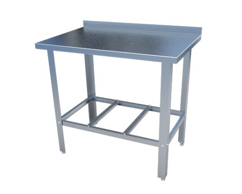 Стол с нержавеющим покрытием для кухни с бортом